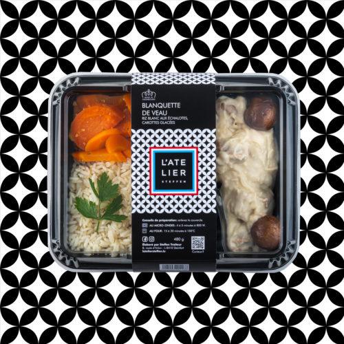 Blanquette de veau riz blanc aux échalotes, carottes glacées