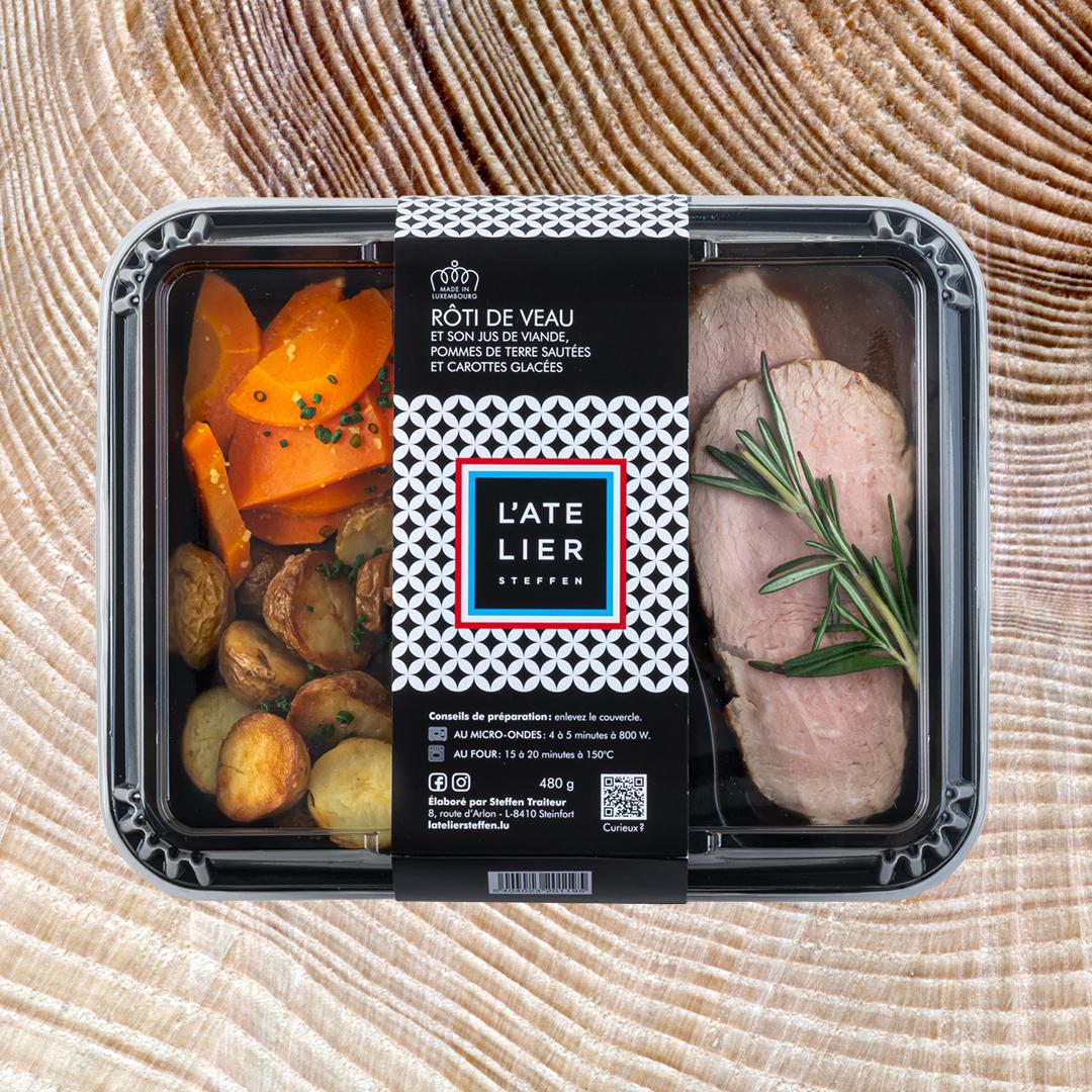 Rôti de veau et son jus de viande, pommes de terre sautées et carottes glacées