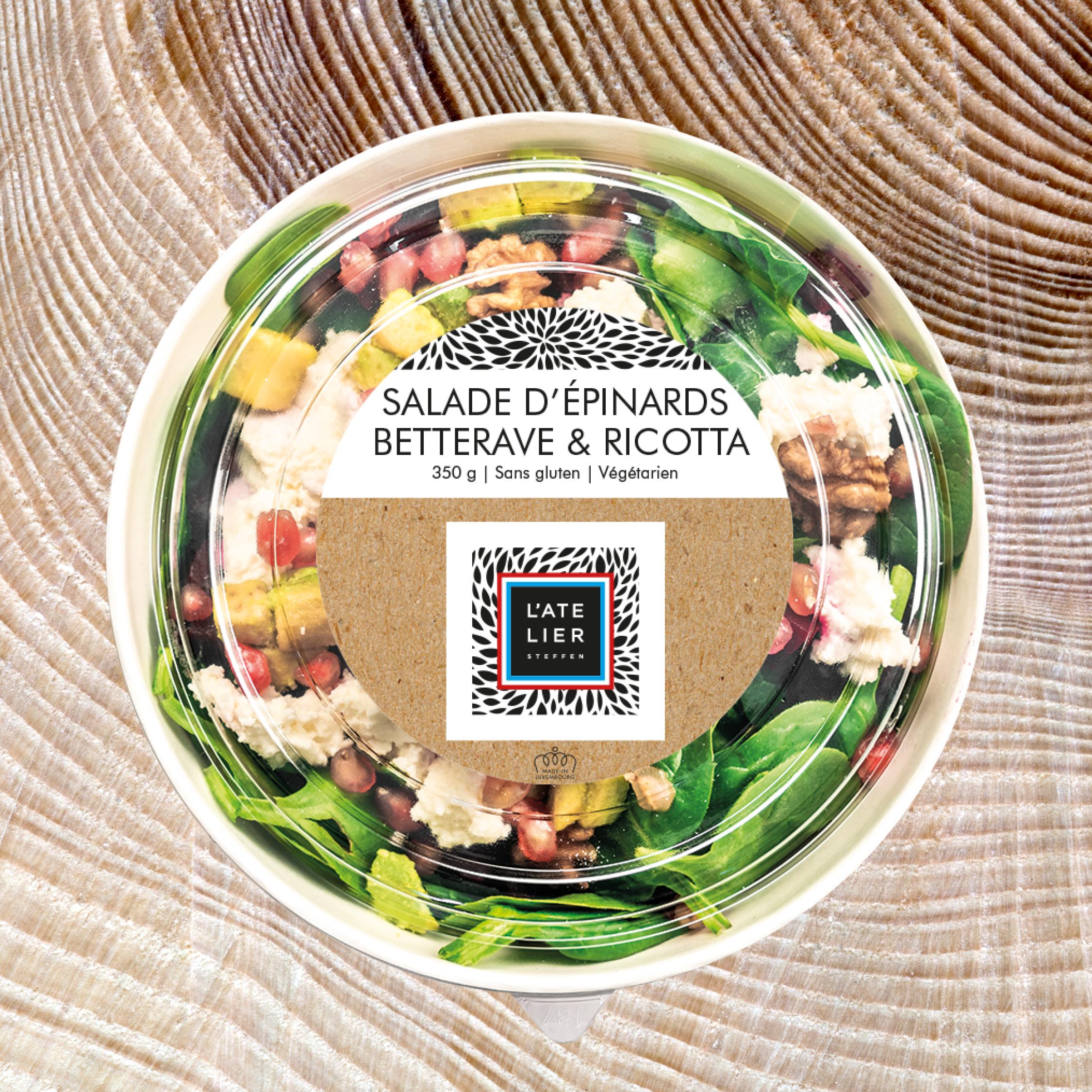 Salade d'épinards  betterave & ricotta